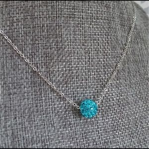 Harriet Ave Jewels Jewelry - Turquoise Rhinestone Bead Silver tone Necklace